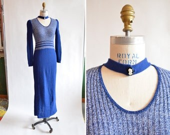 Vintage 1970s VICTORIAN inspired knit dress