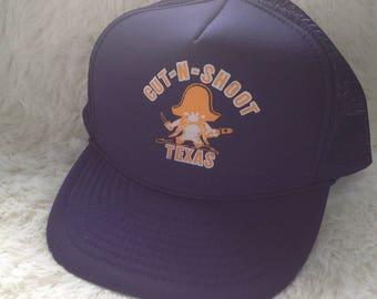 Vintage 80s Cut n Shoot Texas  Trucker Hat Cap Adjustable Rockabilly