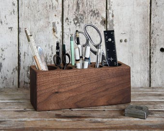 Wood Men Gift, Large Walnut Desk Caddy, Office Decor, Desk Organizer, Desk Accessories, Pencil Holder, Tool Caddy, Wooden Gift, Peg and Awl