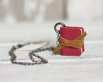 Spring Book Necklace: Poppy, Book Lover, Grad gift, mini book jewelry, tiny book, journal, Spring, notebook, Miniature Book, gifts under 50