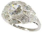 On Hold for D - Platinum Art Deco diamond engagement ring old European cut diamonds 1920s wedding jewelry