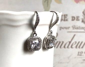 Bridal Earrings Wedding Jewelry Cushion Cut Vintage Inspired Cubic Zirconia Earrings Wedding Jewelry Bridesmaids Jewelry
