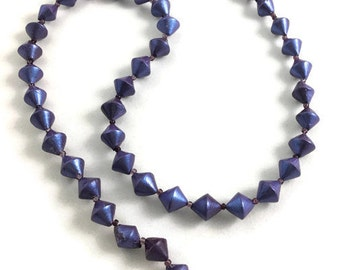 Purple beaded necklace polymer clay metallic bi cones