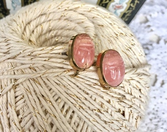 Egyptian Revival Scarab Earrings // Vintage Carved Stone Earrings