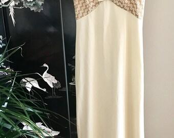 Vanilla Ice Cream 1960s Maxi Dress // Vintage Formal Dress // Size M