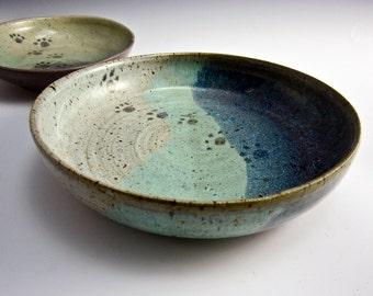 Medium Large Pet Feeding Dish - Stoneware Feeding Dish - Shallow Bowl -  Blue Green Ceramic Pottery Clay Handmade Cat Dog