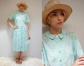 Peter Pan Collar Dress  //  50s Fit and Flare Dress  //  Cotton Day Dress  //   MINT JULIP
