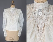vintage 1970s Gunne Sax blouse | ivory lace