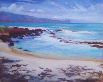 Maui Plein Air Painting Baby Beach Sprecklesville Maui Hawaii original Maui Art View of Baby Beach Pa'ia Baldwin Beach Maui Country Club