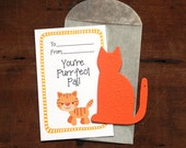 Cat Valentines- SET OF 8 - includes color printed card, seed paper, and glassine envelope- choose from 16 seed paper colors