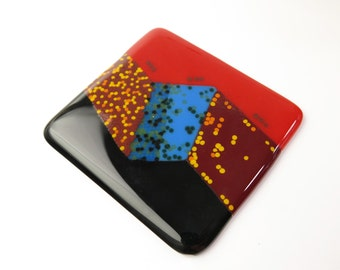 Metal Microstructures Fused Glass Coaster Art Tile