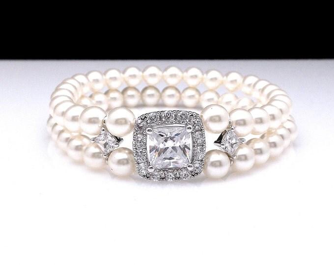 Swarovski white or cream 6mm round pearl bracelet bridal wedding jewelry clear white square cut cubic zirconia micropave stretch bracelet