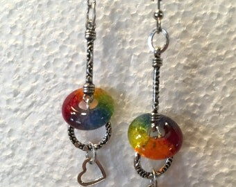 Handmade Glass Dangle Earrings - Valentine Gift for Her - Rainbow Glass Charm - Matching Pendant - LGBT Jewelry