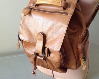 Vintage Leather Backpack / Brown Leather Backpack / Shoulder Bag / Travel Bag