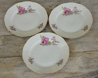 Vintage Rose Print Bread Plates/Shabby Chic/Cottage Chic