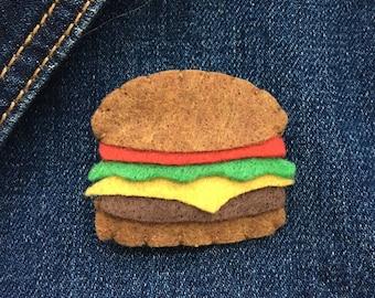 Yummy burger felt pin brooch