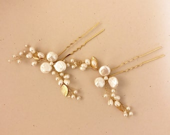 Pearl Bridal Hair Pins | Freshwater Pearls Flower Pins | Ivory Gold Wedding | Handmade Elegant Hair pins | Ready to ship