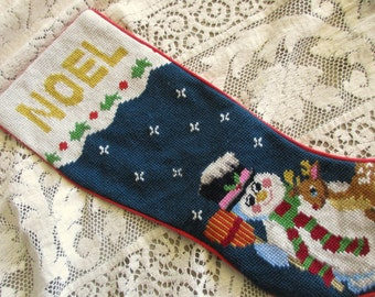 vintage needlepoint CHRISTMAS STOCKING with Snowman - Noel, Rudolph