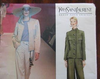 Vogue uncut Pattern 2410 - designer, jacket, pants, size 8, 10,12 Yves Saint Laurent, Paris