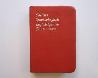 vintage book - Collins SPANISH Gem Dictionary - Spanish to English and English to Spanish - 1969 - travel size, pocket size