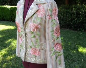 BIYA Johnny Was Embroidered jacket pink roses floral design  M  L