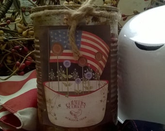 Rusty Can Candle - Highly Scented -  Farmers Market/Old Glory/Spring/1776 Label - Homemade - Only 13.99