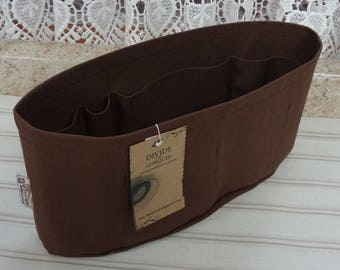 Brown / Purse ORGANIZER insert SHAPER / Inside pockets only / STURDY / 5 Sizes Available / Check out my shop for more styles & colors
