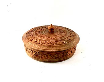 Carved Wood Trinket box with divided sections and lid / Boho Box
