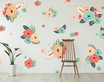 Half Order- Vinyl Wall Sticker Decals - Graphic Flower Clusters
