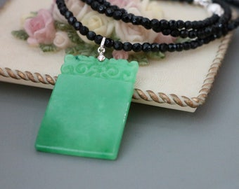 Carved Green Jade Rectangle Pendant Black Onyx Beaded Necklace, Carved Green Jade Jewelry, Green Jade Necklace, Jade Necklace, Jade Jewelry