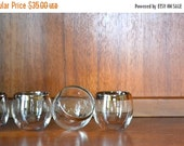 SALE 25% OFF SALE vintage 1960s silver rim roly poly cocktail tumblers