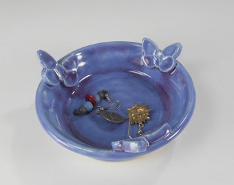Pottery ring saucer with butterflies, ceramic jewelry holder dish, stoneware ring catcher, pottery trinket bowl, purple butterfly saucer