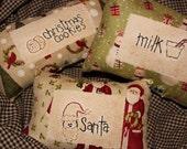 Primitive Ornies Bowl Fillers Prim Tucks Make Do Winter Christmas Holiday Santa Cookies Milk