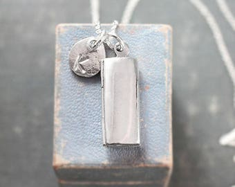 Modern Sterling Silver Locket Necklace, Custom Hand Stamped Initial Charm - Anthology of You