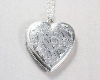 Large Sterling Silver Heart Locket Necklace, Vintage Flower Leafy Vine Engraved Sterling Picture Pendant - Inside My Heart