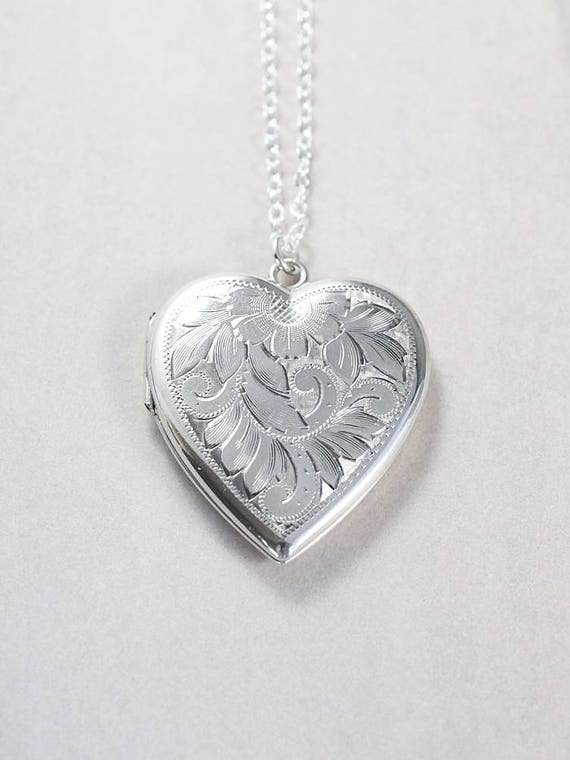 Large Sterling Silver Heart Locket Necklace, Vintage Flower Leafy Vine Engraved Sterling Picture Pendant - Inside My Heart