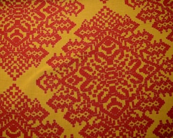 Red Gold Geometric Fabric