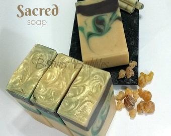 SACRED Soap - Frankincense and Myrrh essential oils with cream, and silk - Magi - handmade by Bonny Bubbles