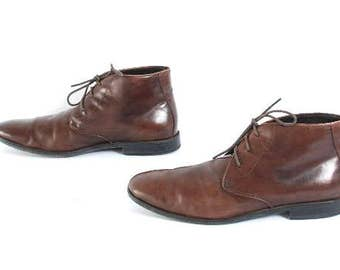 CHELSEA boots Men's size 9 brown leather 80s CLASSIC lace up boots