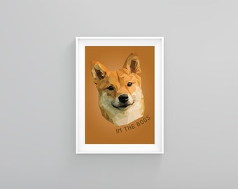 Shiba Inu Print Low Poly Triangle Animal Dog Pet Wall Art Boss Bossy Gifts for Her for Him for Boss Family Friend