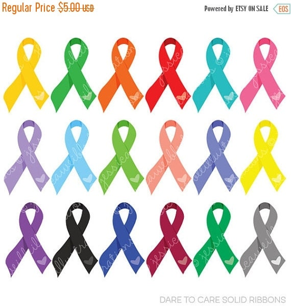 ON SALE Dare to Care Solid Awareness Ribbons for Commercial or Personal Use, Awareness Clipart, Awareness Graphics