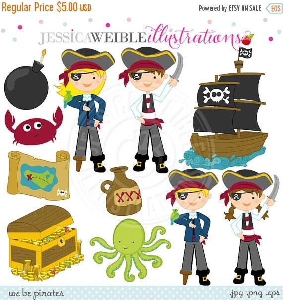 ON SALE We Be Pirates Cute Digital Clipart - Commercial Use Ok - Pirate Clipart, Pirate Graphics, Pirate Kids, Pirate Ship, Treasure
