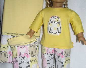 "18"" Doll  Pajamas - Cat - Kitten - Kitty print /  matching doll pillowcase with pillow / matching girl pillowcase"