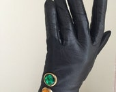 ON SALE vintage black leather gloves rhinestone 1990s 1980s 90s red yellow green traffic light party glam avant garde