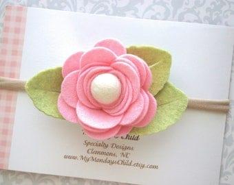 Pink Felt Flower Headband, Baby Flower Headband, Pink Baby Headband, Pink Flower Headband, Baby Headband Toddler Headband Baby Girl Headband