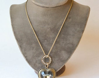 Heart Necklace Large Brass and Rhinestone Heart Necklace