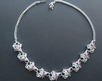 Vintage Lilac Shades Enamel and Diamonte 1960s Linked Necklace with Chain