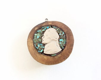 One of a kind pendant unusual coin pendant inlaid on wood and turquoise chips Vintage Handmade