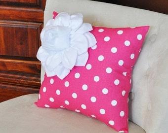 SALE Pillows, Decorative Throw Pillows,Throw Pillow, Pink Pillows, Decorative Pillows, Cushions, Nursery Decor, Polka Dot, Shower Gift