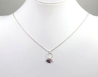 Spinel Sterling Silver Wire Wrapped Purple Pendant Gemstone Birthstone Necklace
